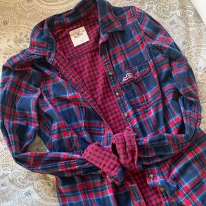 Hollister Plaid and Checker (Flannel) Button Up